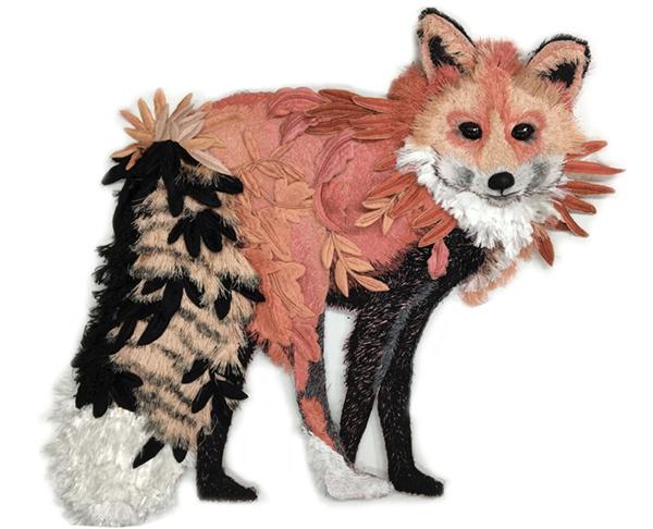 Fox textlie art by Karen Nicol