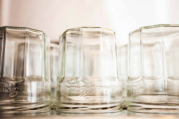 Jars as drinking glasses