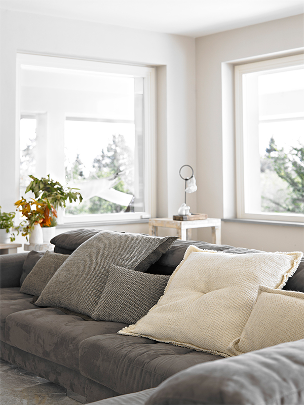 Neutral coloured soft furnishings