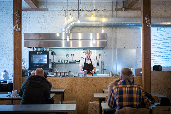 Open kitchen at zero waste restaurant Silo