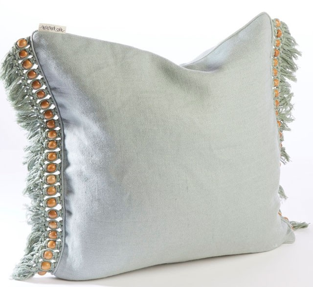 Pale green recycled cotton beaded cushion