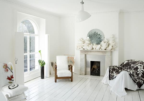 White living room and white floors