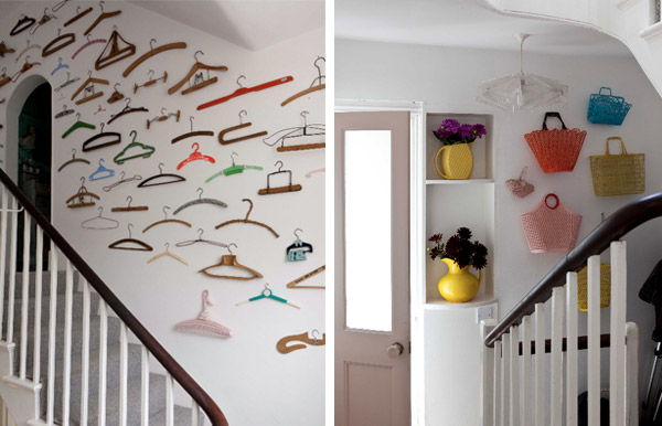Collected objects displayed in stairwell