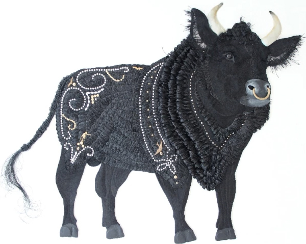 Embroidered black bull by Karen Nicol