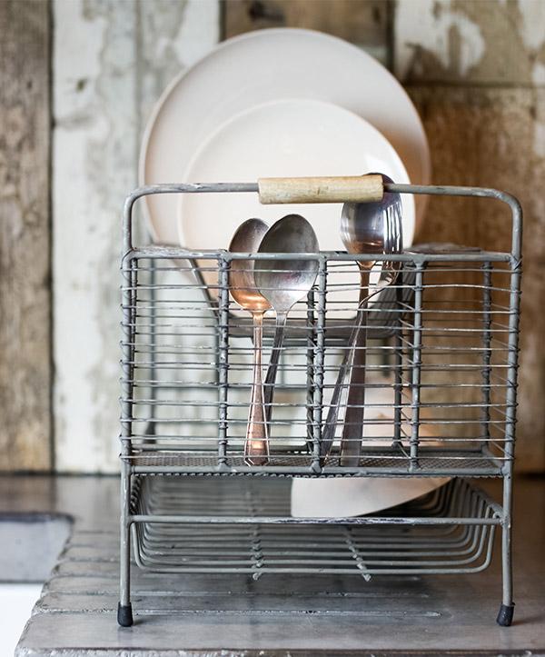 Tilmo recycled metal dish rack by Nkuku