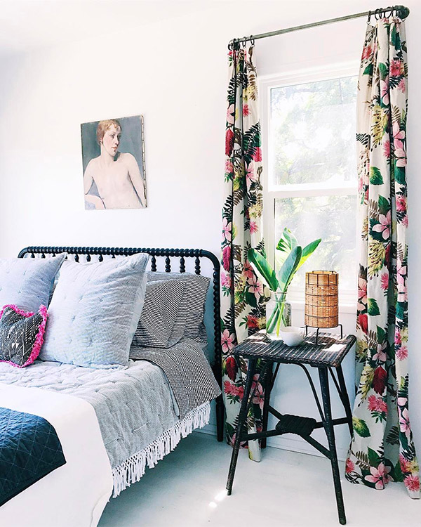 Bedroom makeover with vintage curtains