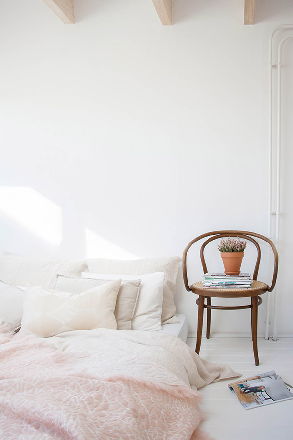 Vintage chair as a bedside table