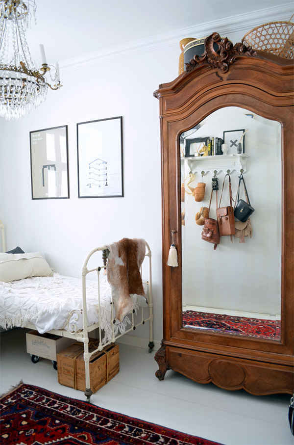 Vintage wardrobe in the bedroom