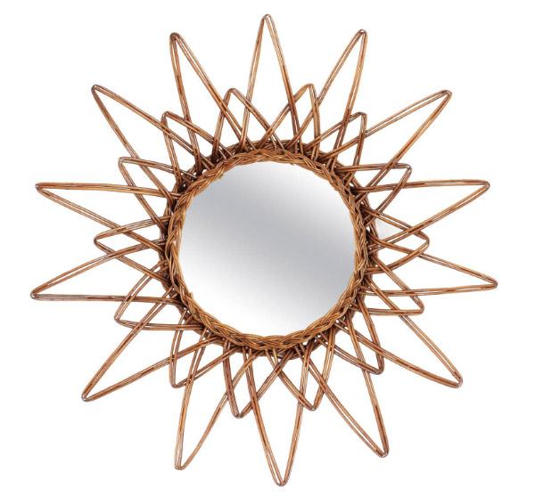 1960s vintage rattan star mirror