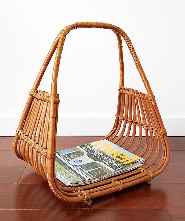 Bohemian home rattan magazine rack