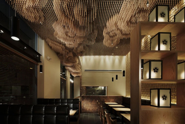 Ceiling design ideas with repurposed chopsticks