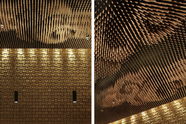 Ceiling made from repurposed chopsticks at Tsujita restaurant