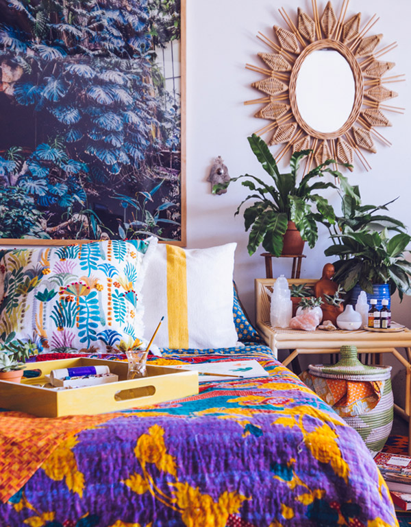 Colourful bohemian interior design by Justina Blakeney