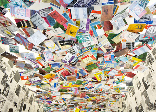 Detail of repurposed books modern ceiling design at Aesop Chelsea New York