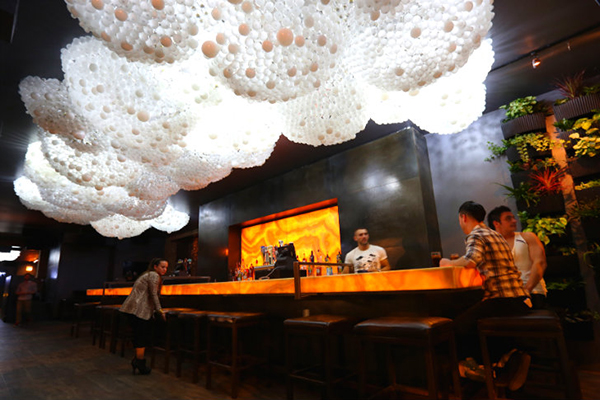 Interactive light installation made from light bulbs