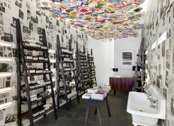 Interior of Aesop store in Chelsea New York with modern ceiling design