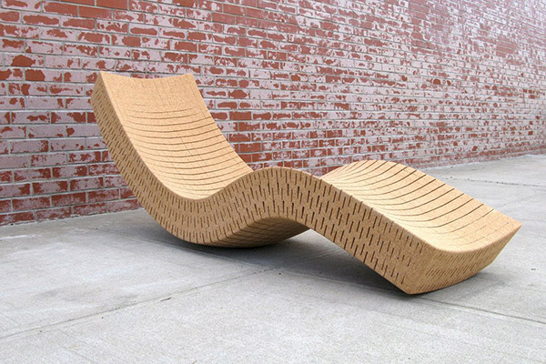 Lounger made from recycled cork by Daniel Michalik