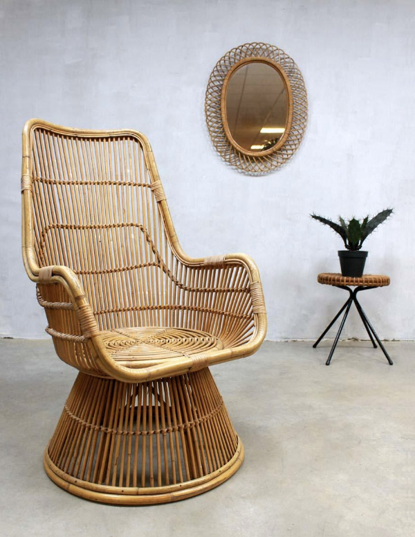 Mid-century peacock rattan chair