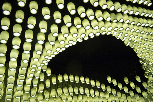 Milkywave installation made from repurposed materials