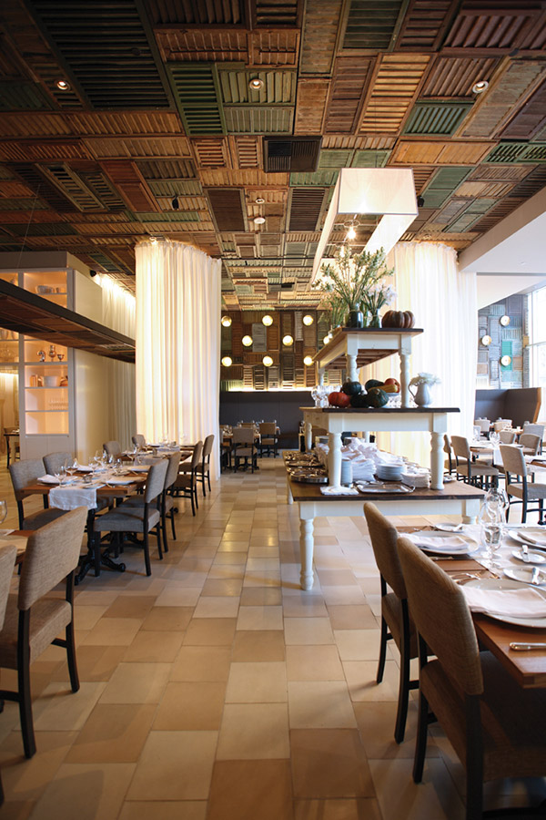 Modern ceiling design made from reclaimed shutters