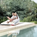 Poolside lounger made from recycled boat sail