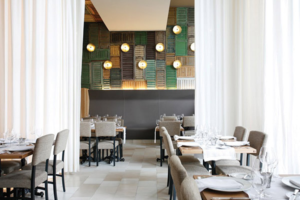 Reclaimed shutters in restaurant interior