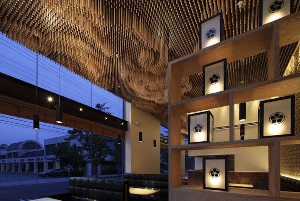 Repurposed chopsticks ceiling design