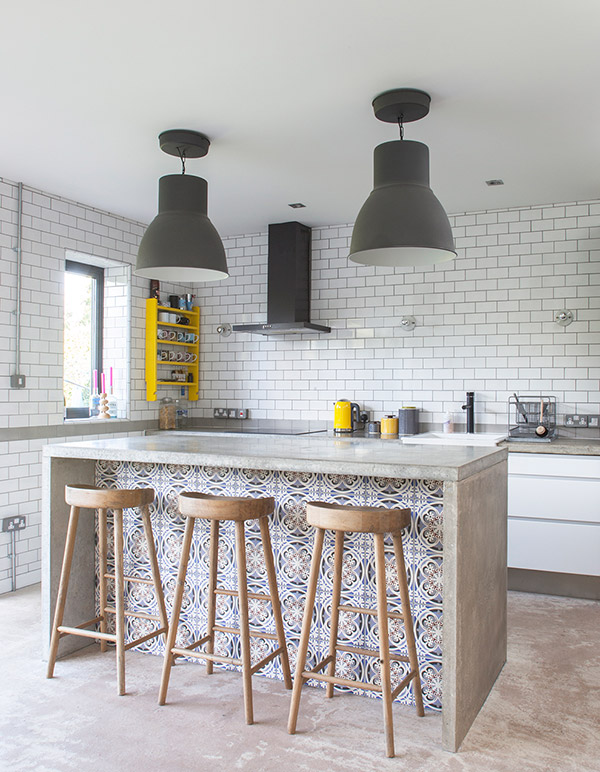 Tiled concrete kitchen island