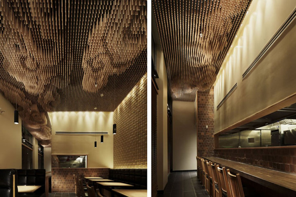 Tsujita restaurant interior made from repurposed chopsticks