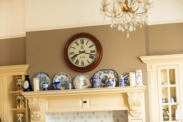 Vintage china displayed in a classic modern kitchen