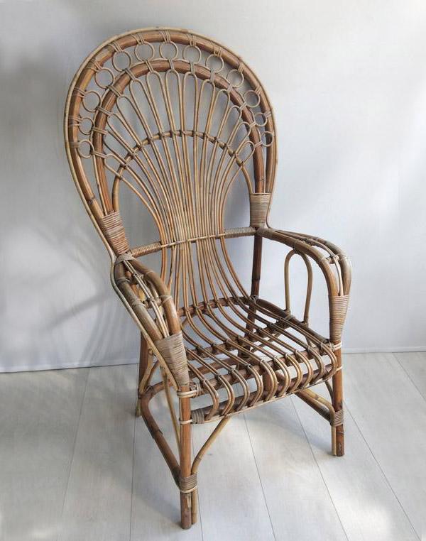 boho vintage rattan peacock chair