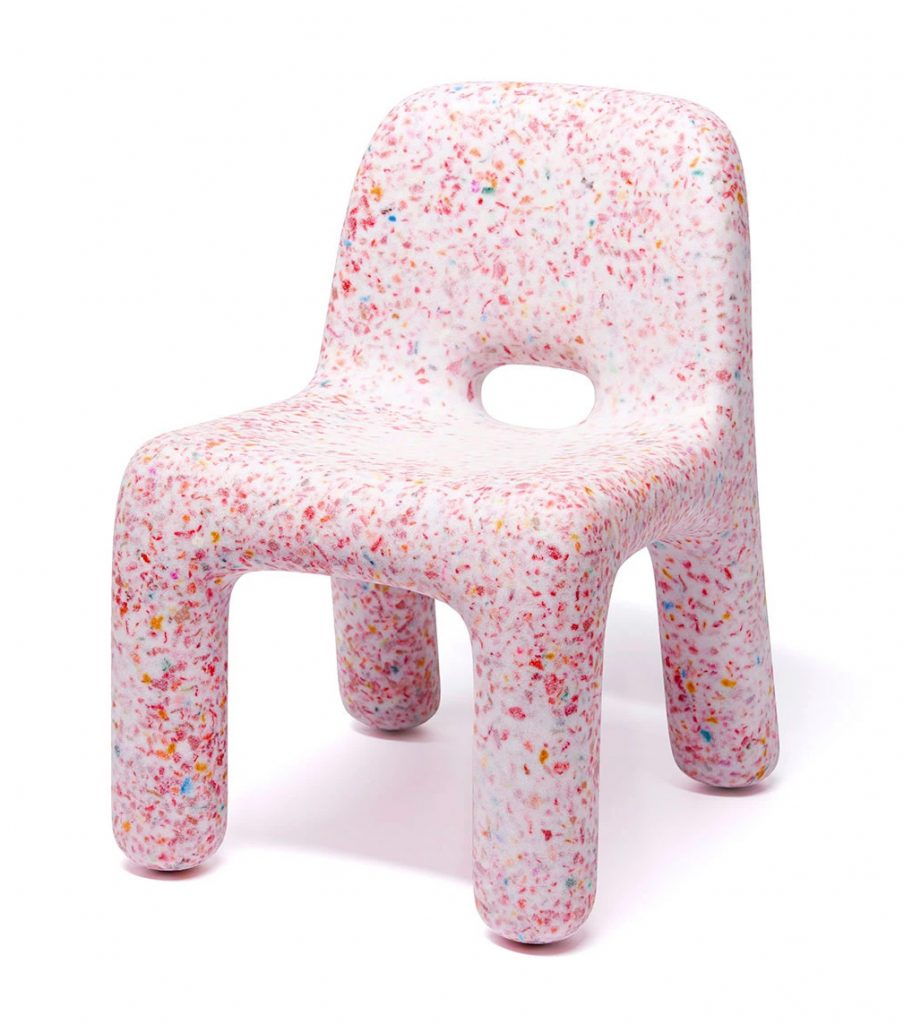 ecoBirdy recycled plastic kids chair in Strawberry