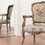 Antique armchair upholstered with mosaic pieces by Yukiko Nagai