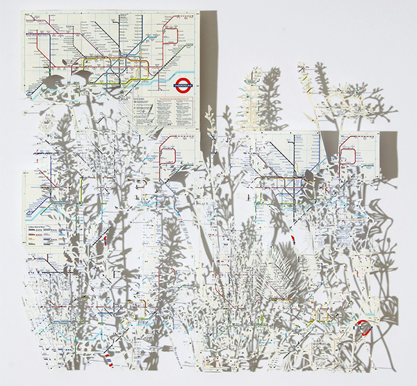 Art made from a recycled London map by Claire Brewster