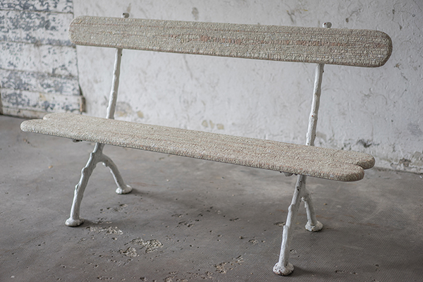 Bench covered in mosaic pieces by Yukiko Nagai