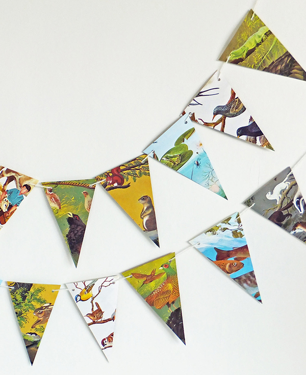 Bunting made from vintage book for children about animals