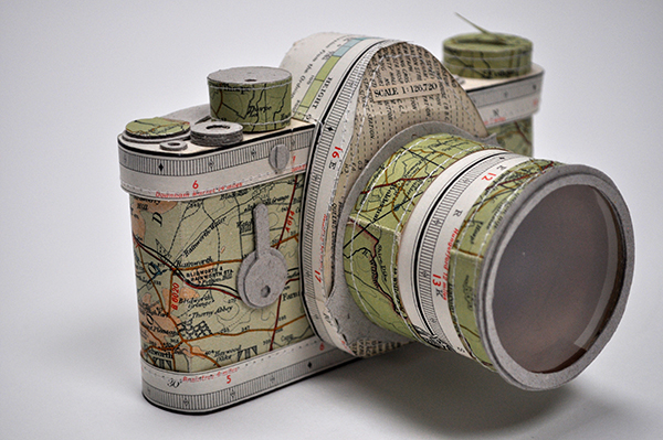 Camera made from old maps by Jennifer Collier