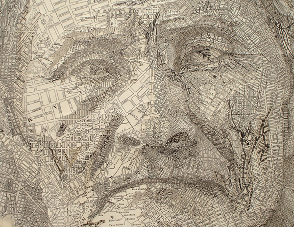 Detail of art made from maps by paper artist Matthew Cusick