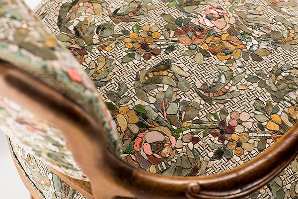 Detail of mosaic furniture by Yukiko Nagai