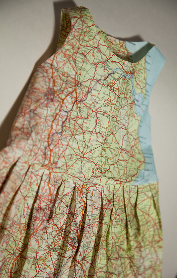 Dress made from recycled maps by Jennifer Collier
