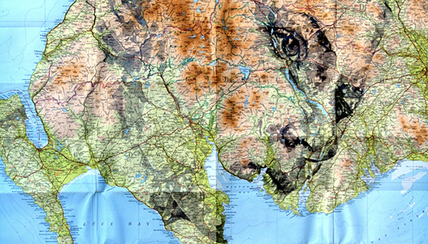 Figurative study on map by Ed Fairburn