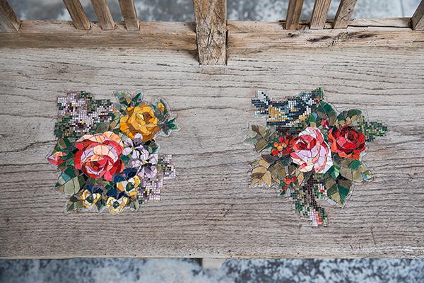 Flower Patches mosaic art series by Yukiko Nagai