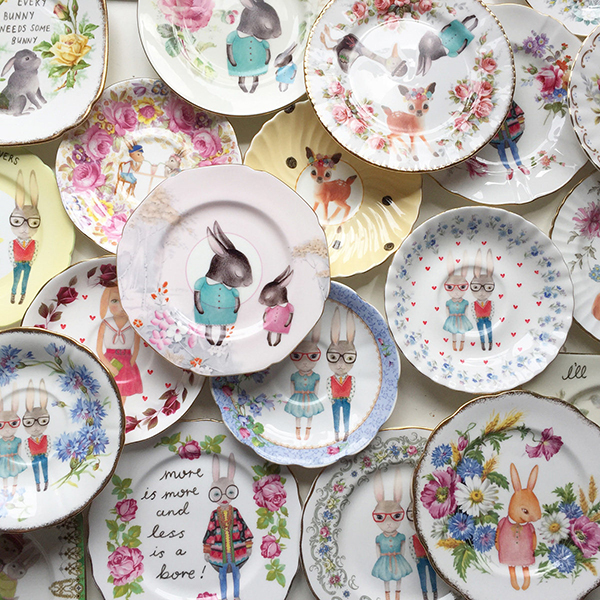 Illustrated vintage plates by The Story Book Rabbit
