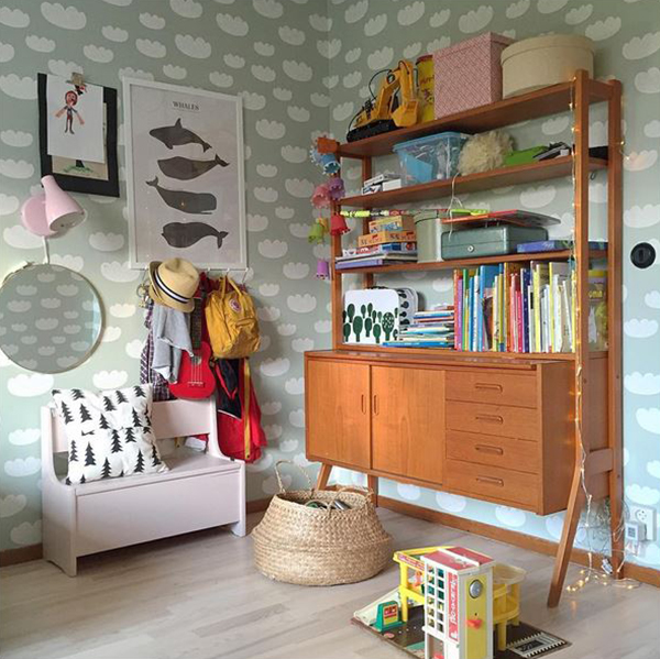 Midcentury dresser in a kids room