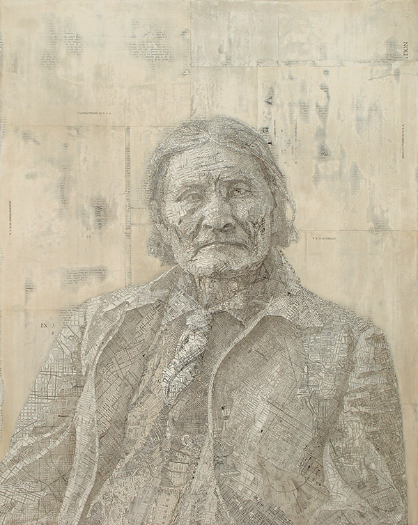 Portrait made from maps by Matthew Cusick