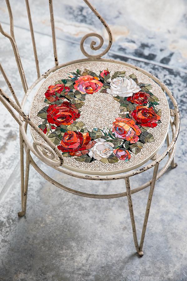 Rose mosaic art on a chair seat by Yukiko Nagai