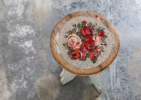 Rose stool embellished with mosaic by Yukiko Nagai