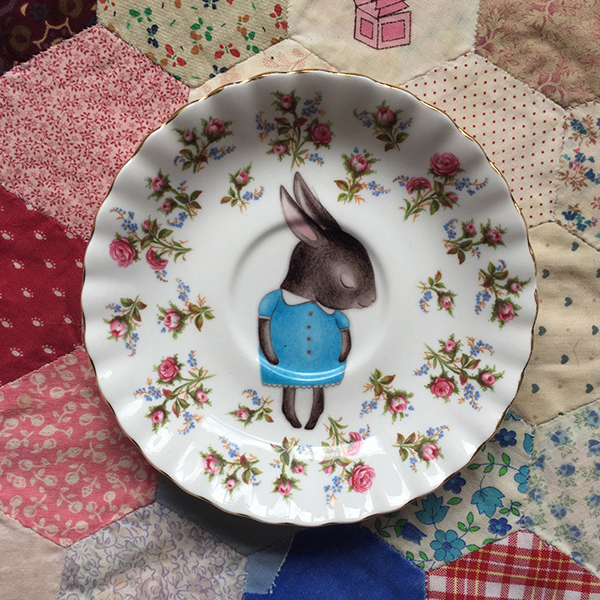 Shy bunny decal on vintage plate by The Story Book Rabbit