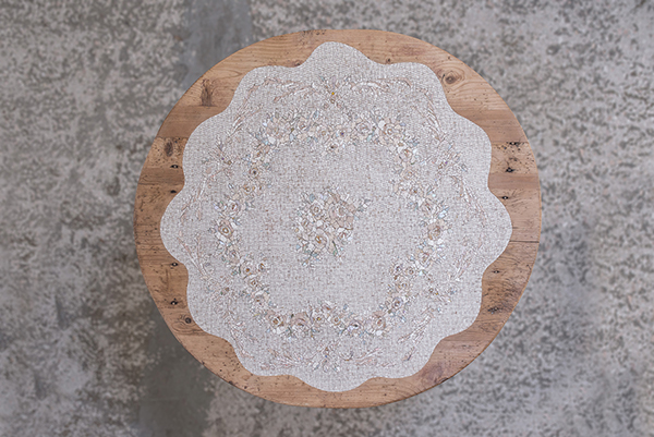 Table decorated with white mosaic