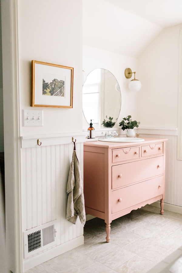 Beau Vintage Bathroom Vanity Unit Painted Pink